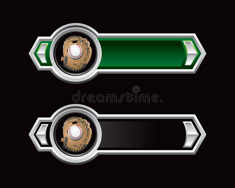 Baseball in glove on green and black arrows stock illustration