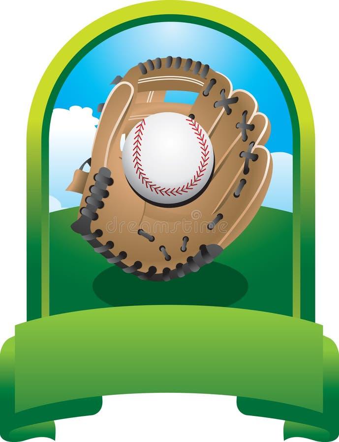 Baseball in glove in green display vector illustration