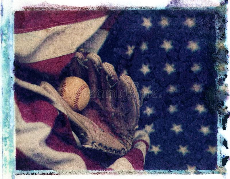 Baseball glove mit with baseball laying on red white and blue am stock images