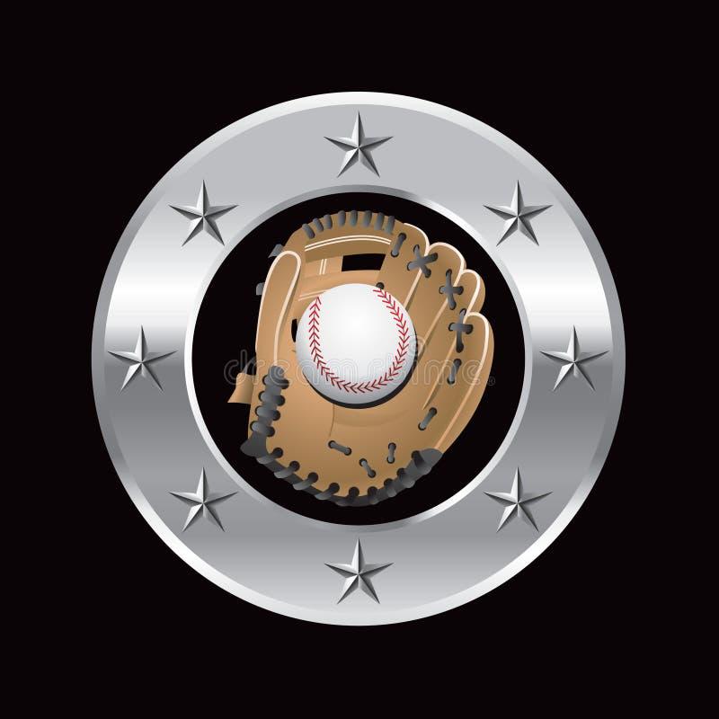 Baseball in glove in silver star circle stock illustration