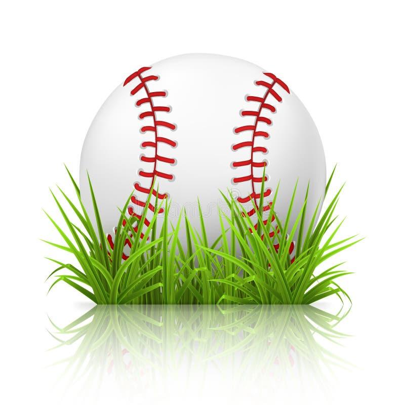 Baseball on grass. Computer illustration
