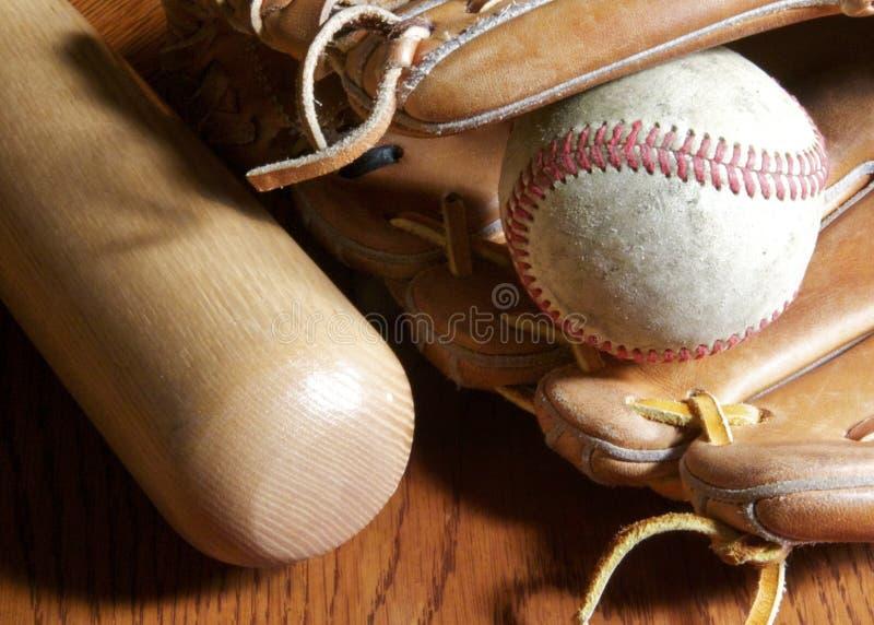 Baseball, Handschuh und Hieb stockfoto