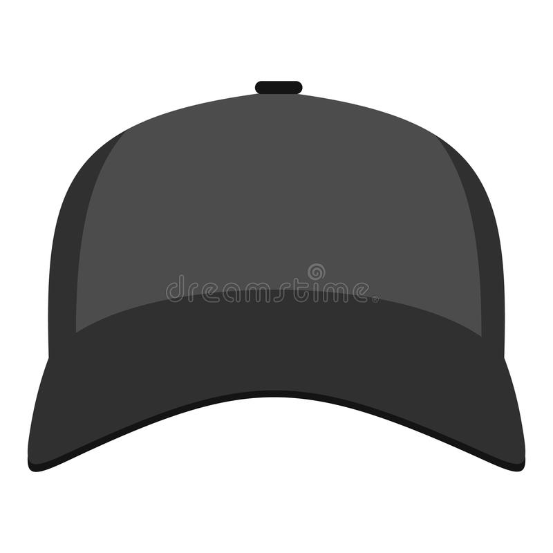 Baseball hat in front icon, flat style. Baseball hat in front icon. Flat illustration of baseball hat in front icon for web stock illustration