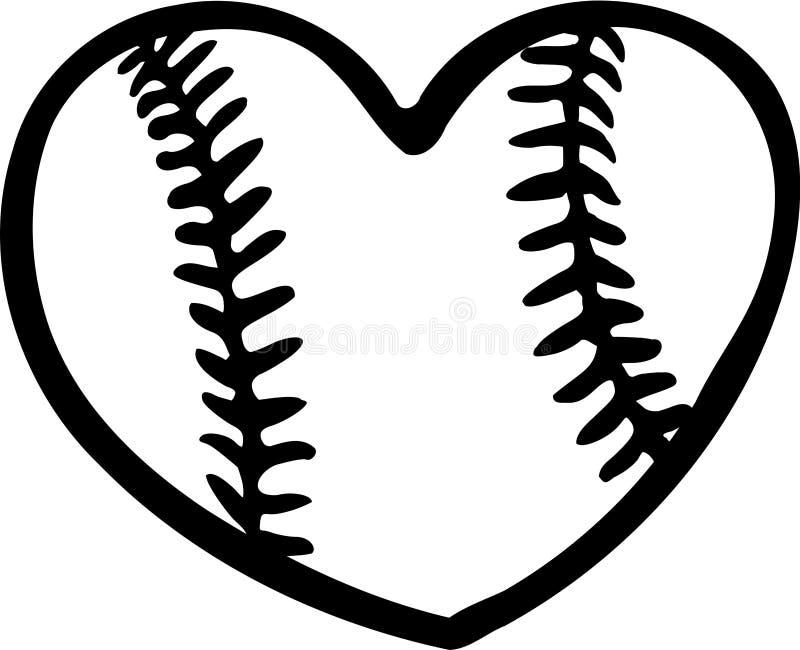 Baseball Heart. Baseball ball Heart with stitches stock illustration