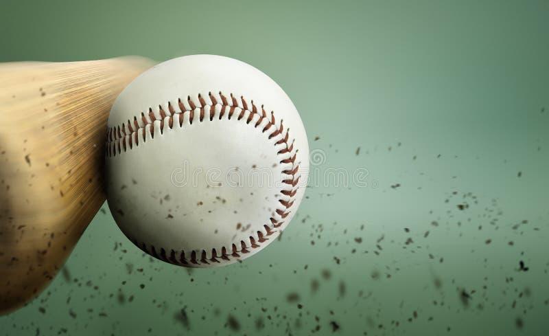 Baseball hit. Close up with a baseball hit stock photography