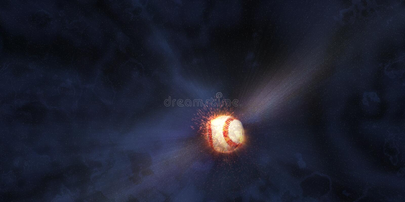 Baseball Hit into Space stock illustration