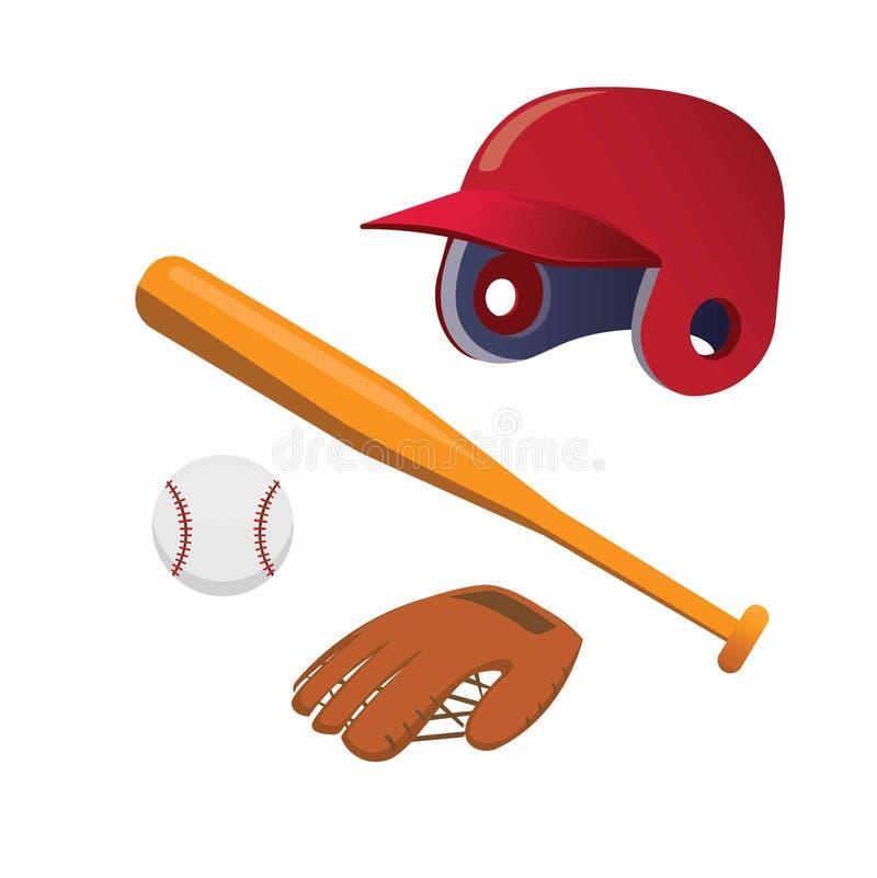 Baseball icon set, ball, glove, helmet, and bat illustration vector royalty free illustration