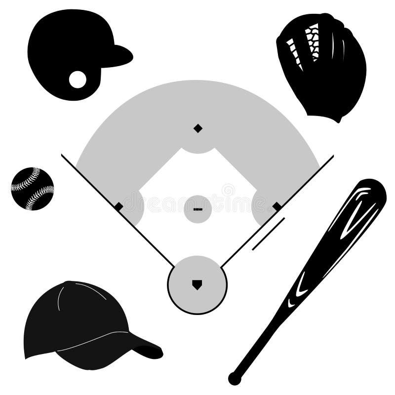 Baseball icons royalty free illustration