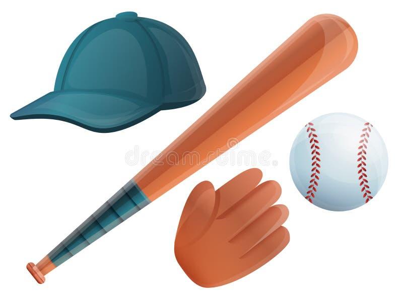 Baseball icons set, cartoon style vector illustration