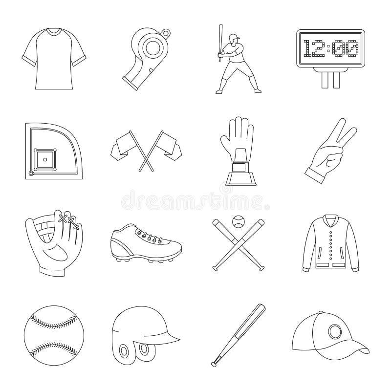 Baseball icons set, simple style vector illustration
