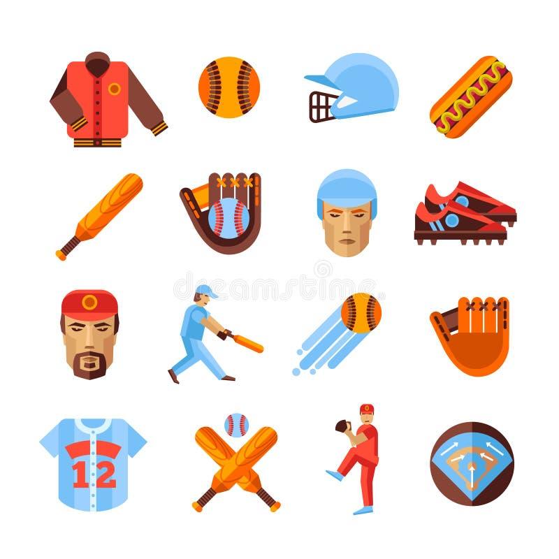 Baseball-Ikonen eingestellt lizenzfreie abbildung
