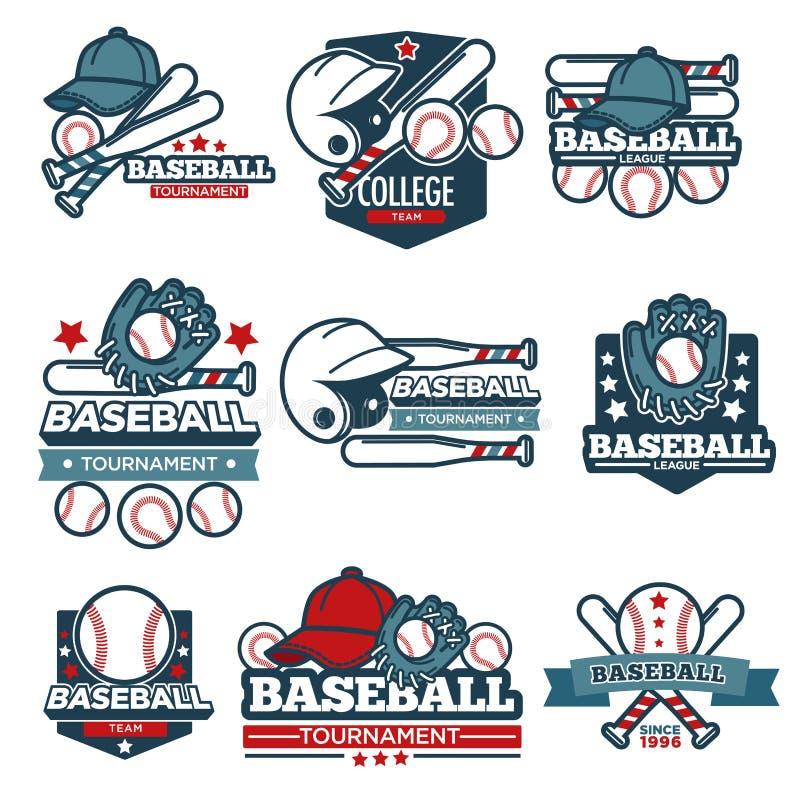 Baseball ikony wektorowi szablony ustawiający gracz uderzają, piłka i hełm ilustracja wektor