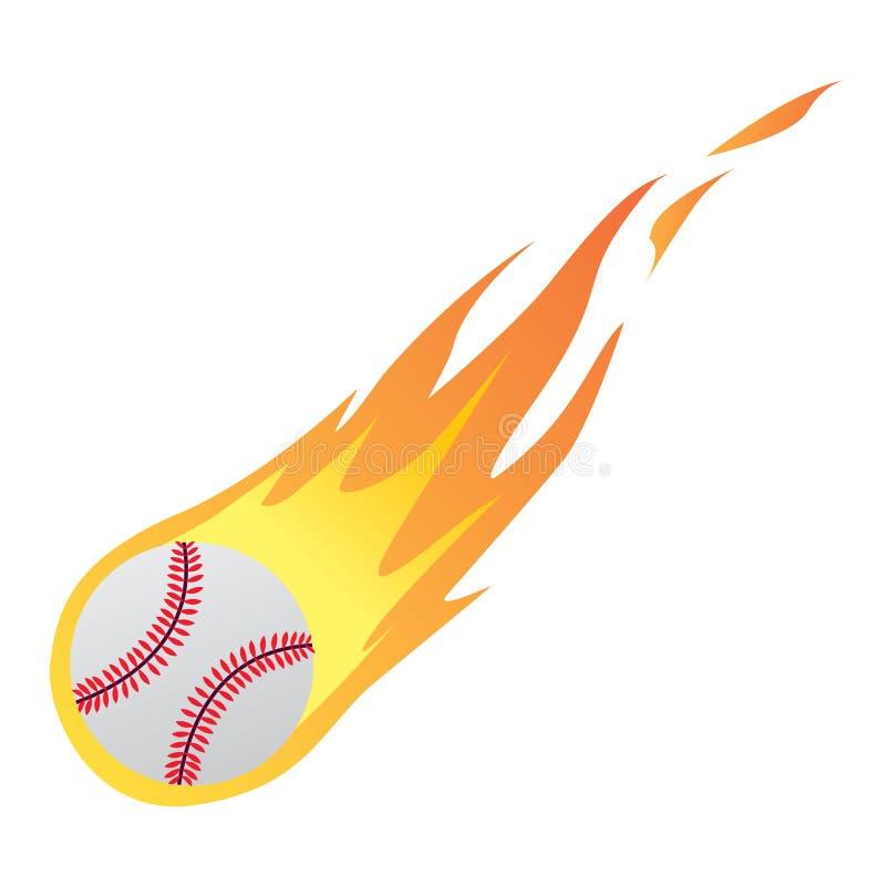 Baseball im Feuer lizenzfreie abbildung