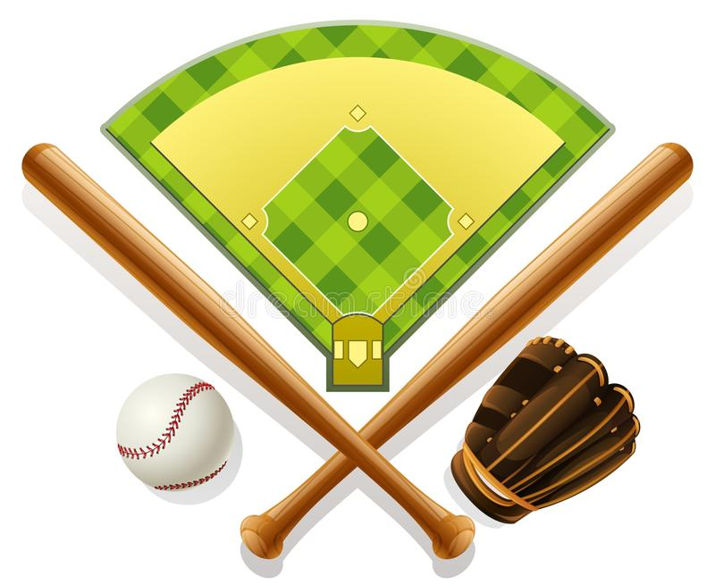 Baseball inventory and playground vector illustration