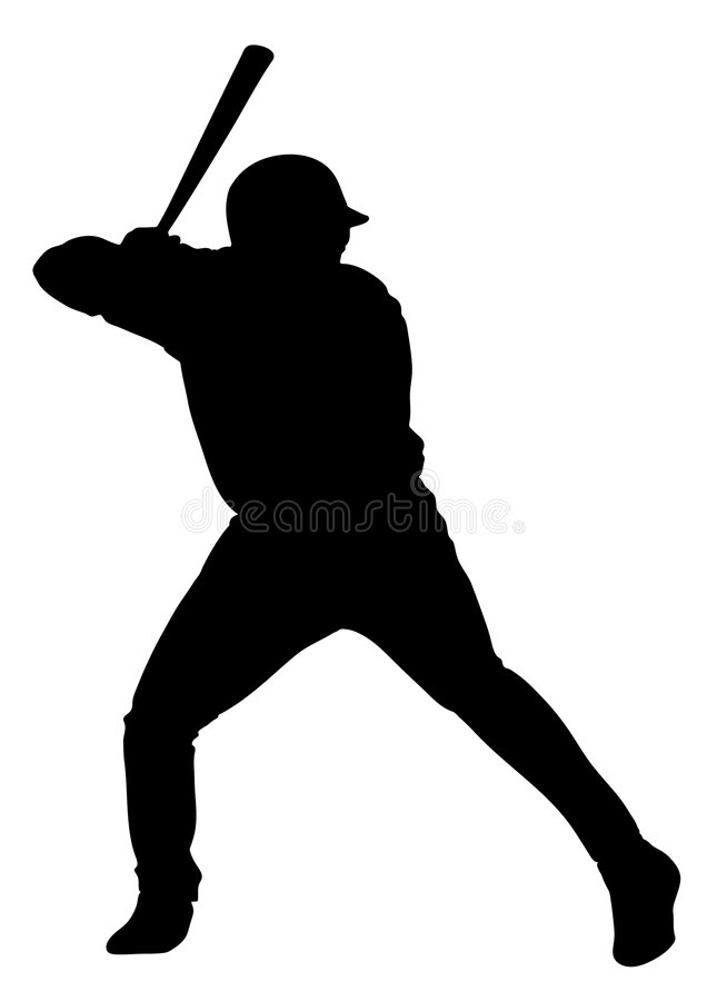 Baseball - isolated man. An isolated man playing baseball. Vectorial icon royalty free illustration