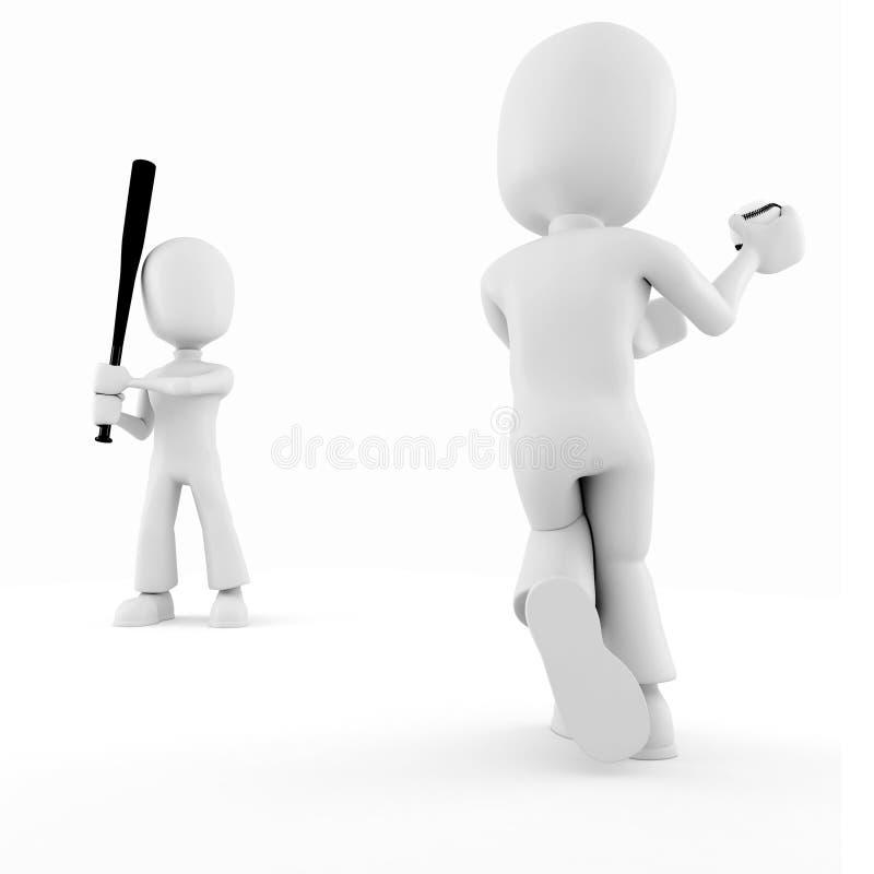baseball isolerad leka white för man 3d royaltyfri illustrationer
