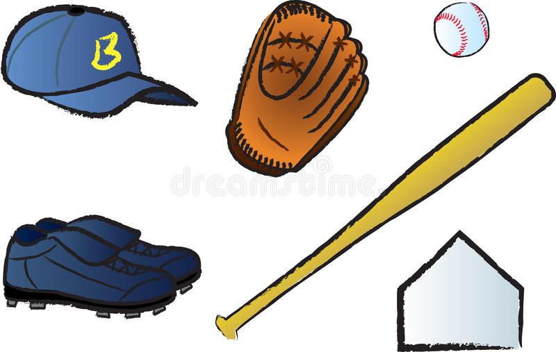 Download Baseball Items stock vector. Illustration of shoes, plate - 18452893