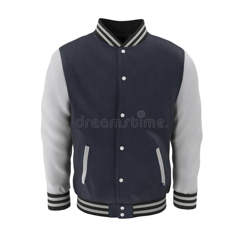 Baseball Jacket on white. Front view. 3D illustration. Baseball Jacket on white background. Front view. 3D illustration stock illustration