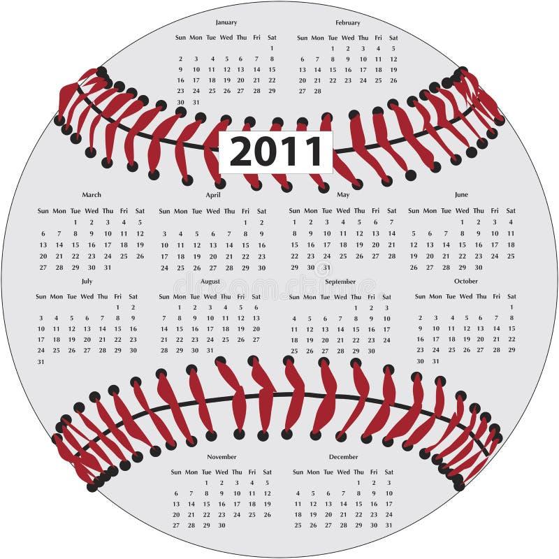 Baseball-Kalender lizenzfreie abbildung