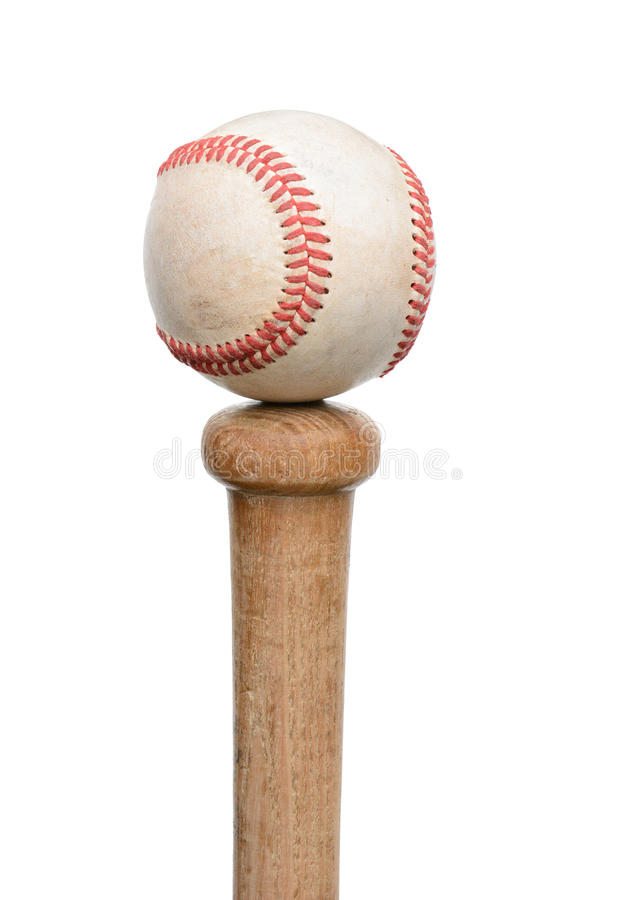 Baseball On Knob Of Bat Stock Images