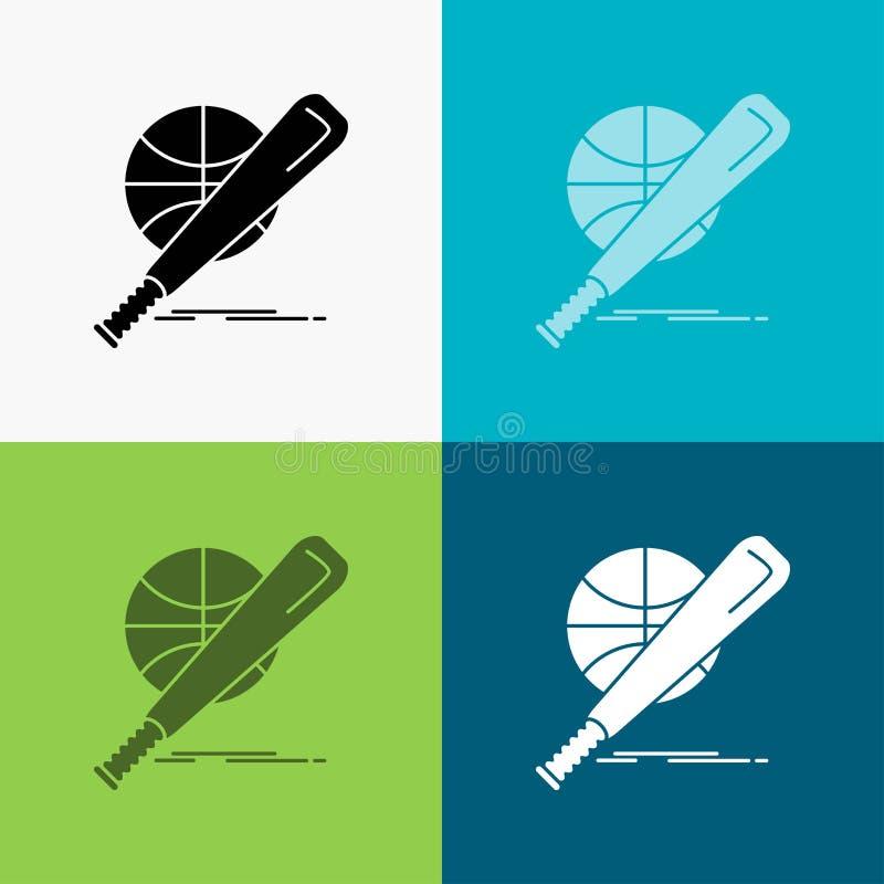 Baseball, Korb, Ball, Spiel, Spaß Ikone über verschiedenem Hintergrund Glyphartdesign, bestimmt f?r Netz und APP Vektor ENV 10 lizenzfreie abbildung