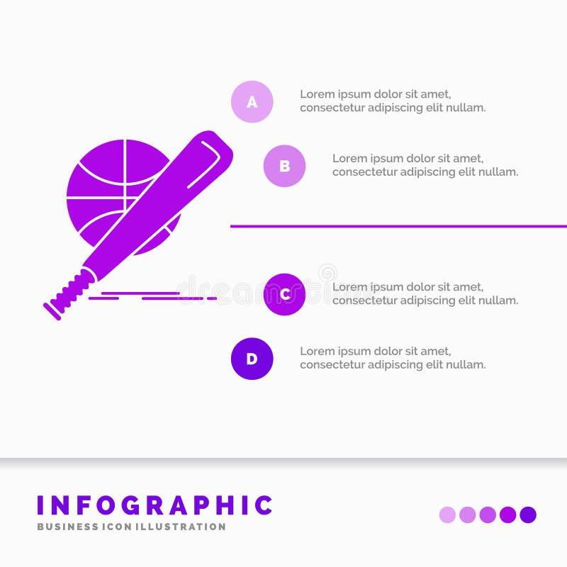 baseball, korg, boll, lek, rolig Infographics mall f?r Website och presentation Vektor f?r stil f?r sk?ralilasymbol infographic stock illustrationer