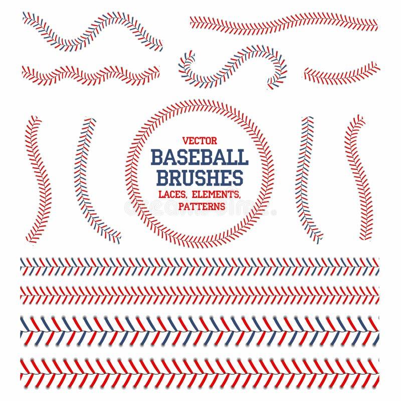 Baseball koronki ustawiać Baseballa szwu muśnięcia Czerwoni i błękitni ściegi ilustracja wektor