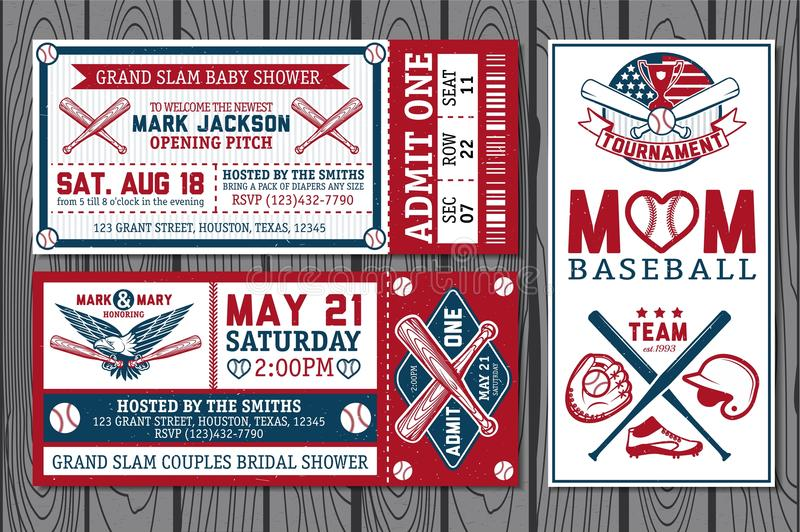 Baseball labels stock photo