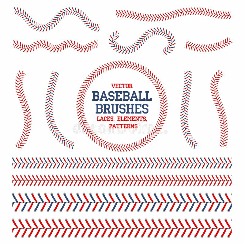 Free Baseball Laces Set. Baseball Seam Brushes. Red And Blue Stitches Royalty Free Stock Images - 100523309