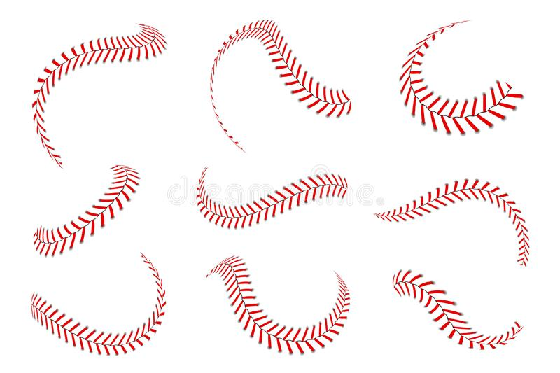 Baseball laces set. Baseball stitches with red threads. Sports graphic elements and seamless brushes vector illustration