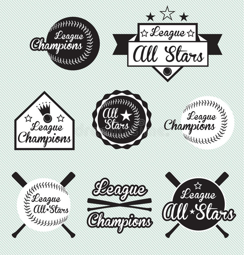 Baseball League Champion and All Star Labels stock illustration