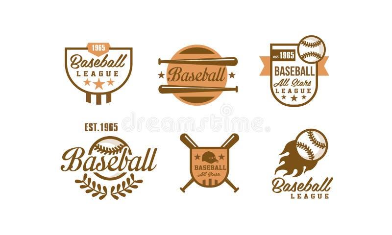 Baseball logo set, retro emblems of baseball tournament, sports team identity badge vector Illustration on a white. Baseball logo set, retro emblems of baseball vector illustration