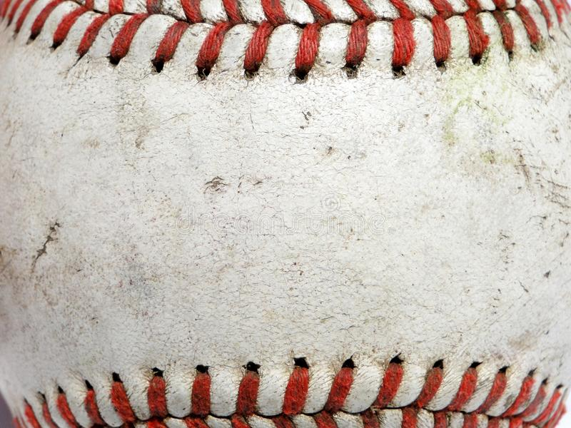 Baseball Macro. Macro image of a used baseball royalty free stock images