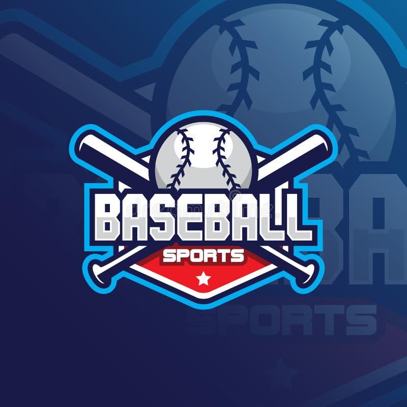 Baseball maskotki logo wektorowy projekt z nowożytnym ilustracyjnym pojęcie stylem dla odznaki, emblemata i tshirt druku, Basebal ilustracji