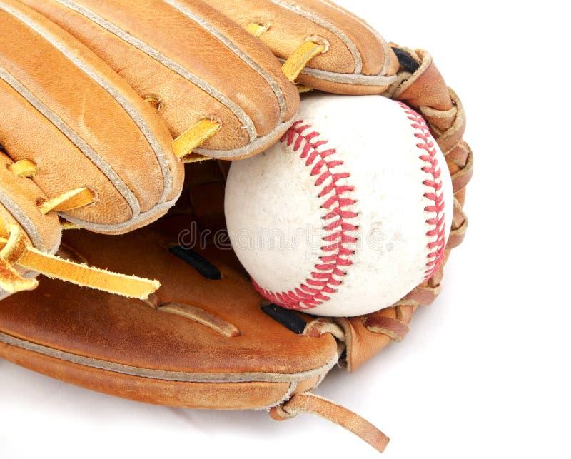 Baseball in mitt stock photos