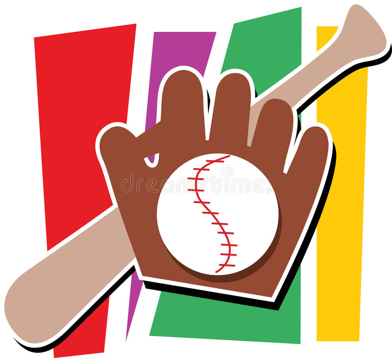 Baseball,Mitt and Bat. Bat, mitt and baseball on a multicolored background stock illustration