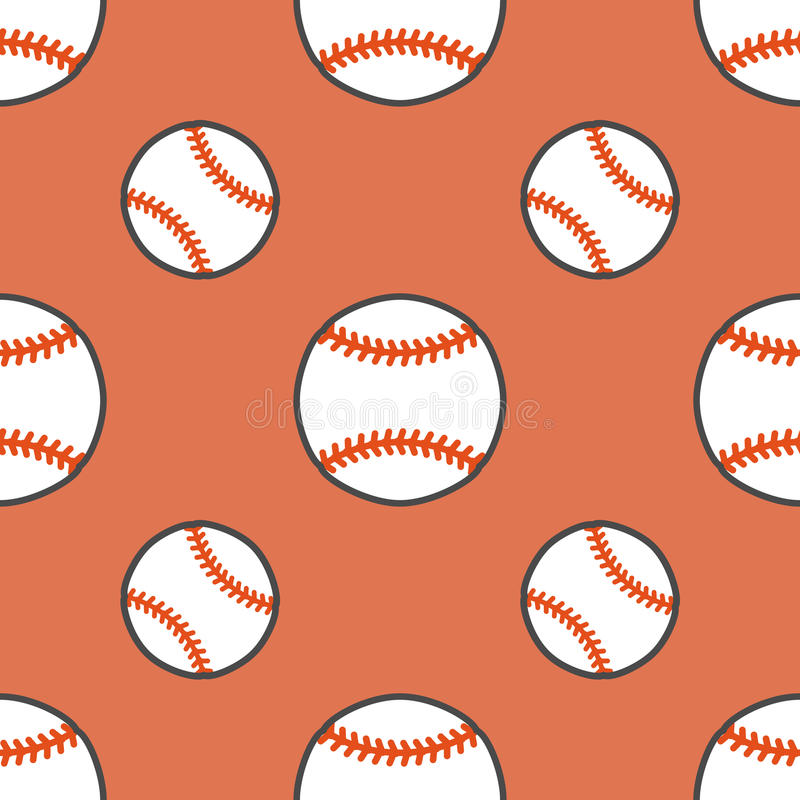 Baseball modell för vektor för softballsportlek sömlös, bakgrund med linjen symboler av bollar Linjärt tecken för stock illustrationer