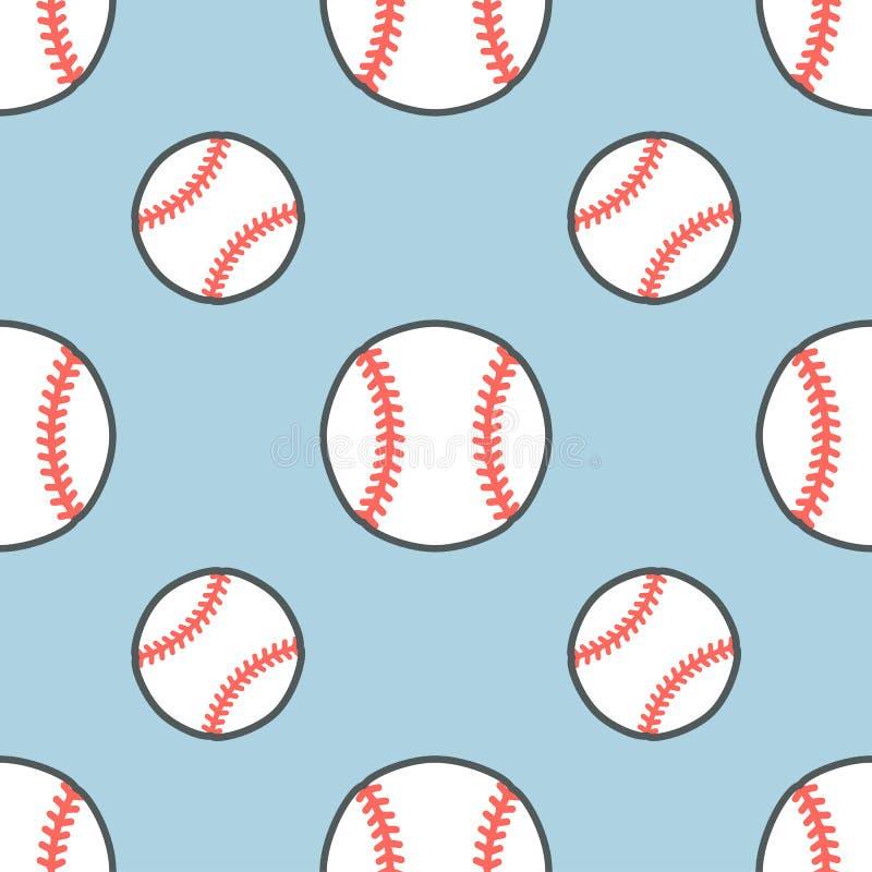 Baseball modell för vektor för softballsportlek sömlös, bakgrund med linjen symboler av bollar Linjärt tecken för royaltyfri illustrationer