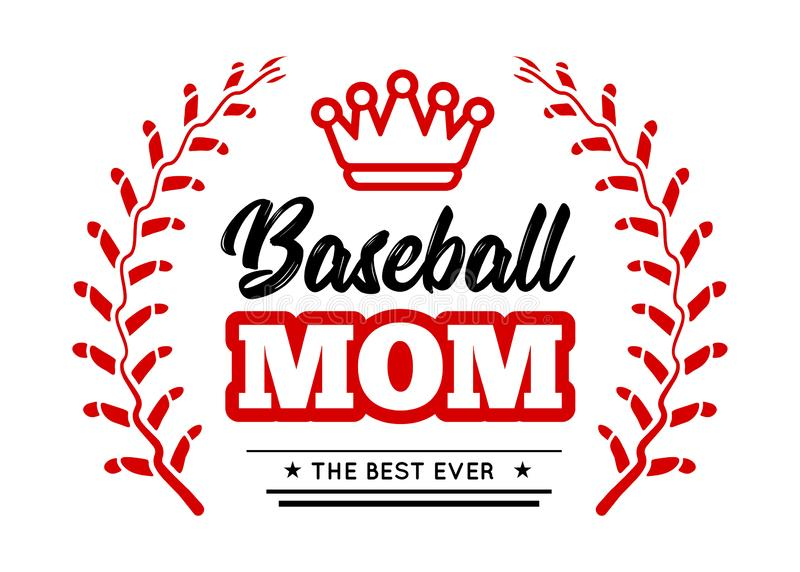 Baseball mom emblem with baseball wreath-style lacing and a king crown on white background. Vector stock illustration