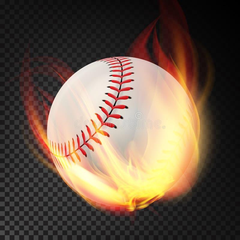 Baseball na ogieniu Płonący styl Ilustracja Odizolowywająca Na Przejrzystym tle royalty ilustracja