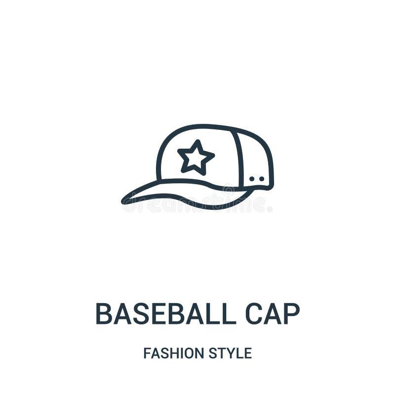 baseball nakrętki ikony wektor od moda stylu kolekcji Cienka kreskowa baseball nakrętki konturu ikony wektoru ilustracja ilustracji