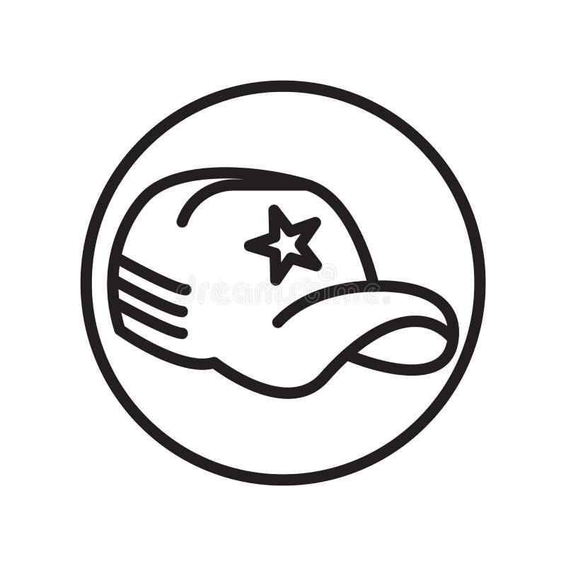 Baseball nakrętki ikony wektor odizolowywający na białym tle, baseball nakrętki znak, liniowi sportów symbole ilustracja wektor