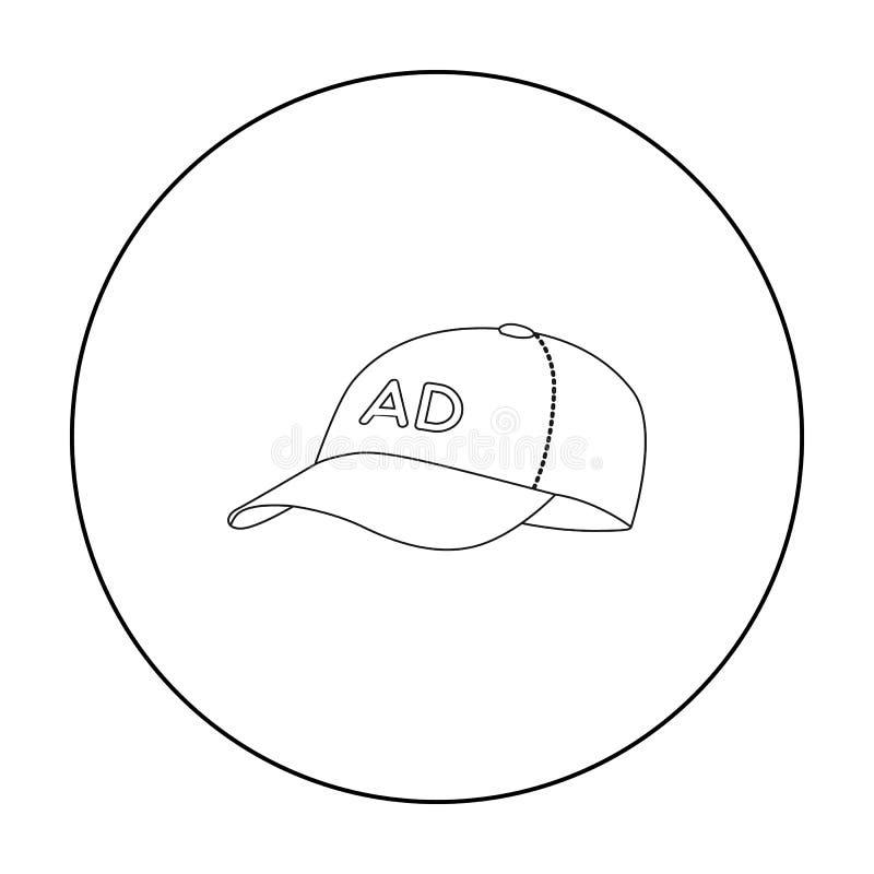 Baseball nakrętki reklamowa ikona w konturu stylu odizolowywającym na białym tle Reklamowy symbolu zapasu wektor ilustracji