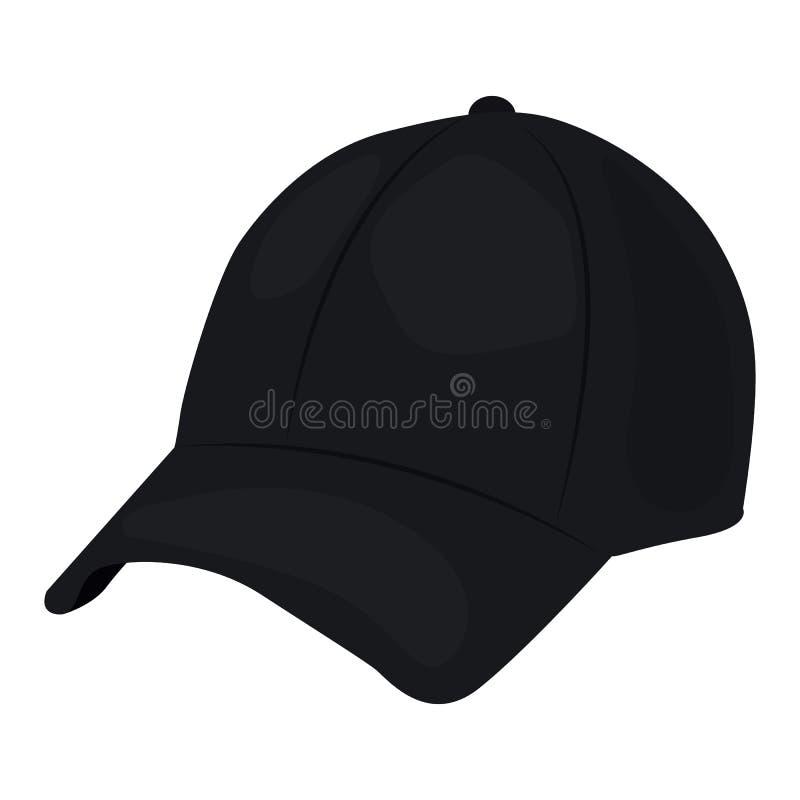 Baseball nakrętki wektorowa ikona na białym tle Czarny kapelusz ilustracja odizolowywająca na bielu Headwear realistyczny styl ilustracja wektor