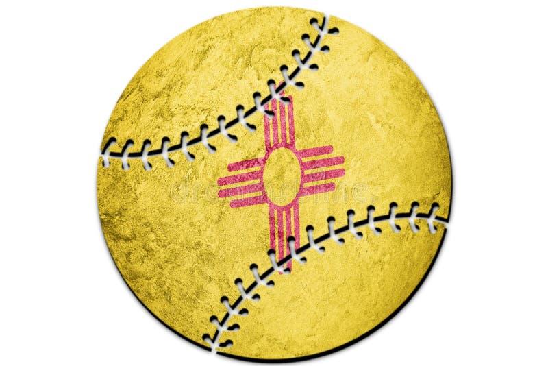 Baseball New Mexico state flag. New Mexico flag background Baseball. Sport royalty free stock photo