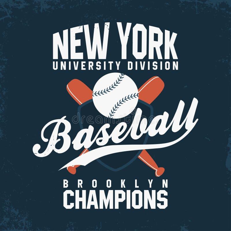 Baseball, Nowy Jork Rocznik typografia dla koszulek grafika Piłka z nietoperzami i osłoną ilustracja wektor