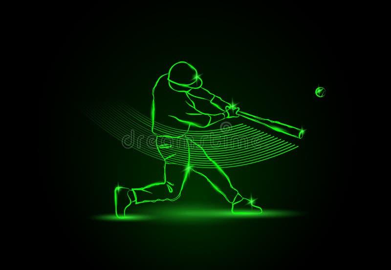 baseball O jogador bateu a bola Estilo de néon ilustração royalty free