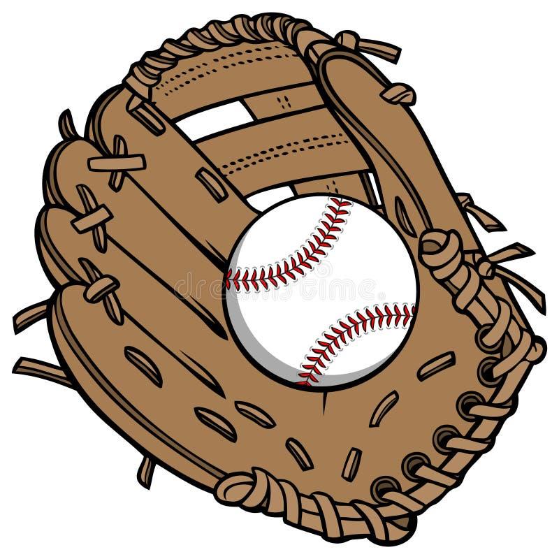 Baseball och handske stock illustrationer