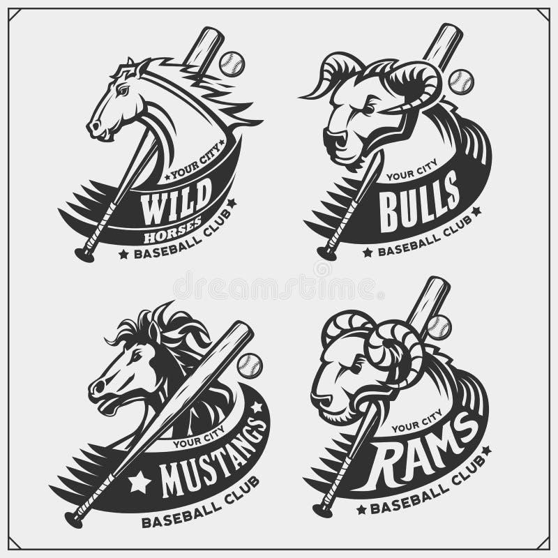Baseball odznaki, etykietki i projektów elementy, Sporta klubu emblematy z baranem, bykiem i koniem, Druku projekt dla koszulek ilustracji