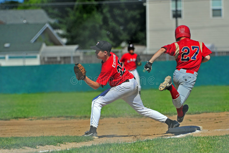 Baseball out at 2nd royalty free stock image